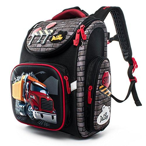 Delune Folding School Backpack for Kids Waterproof Red Truck Bookbag for Boys by Delune (Image #1)