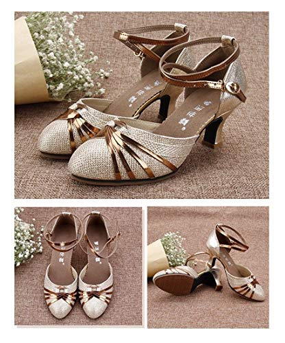Shoes Square Dance Golden Heeled Dance Dance Bottom Low Shoes Summer Dance Female Soft Adult Shoes Latin Square Female Sandals Shoes WXMDDN 4qxwdvRv