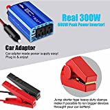 Aickar 300W Car Power Inverter, DC 12V to AC 110V Dual AC Outlets + Dual 2.4A/24W USB Ports with Smart Fan Built-in