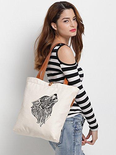 IN.RHAN Women's Wolf Graphic Canvas Tote Bag Casual Shoulder Bag Handbag