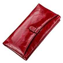 SAIERLONG® Womens Zipper Wallet Red Genuine Leather Wallets