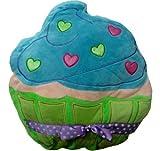 Plush Cupcake Pillow - Green and Blue