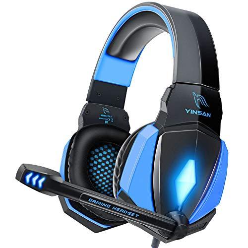 YINSAN Cascos Gaming, Auriculares Premium Stereo con Micrófono, Luz LED y Control Volumen, Diadema Acolchada y Ajustable para PS4/Xbox One X/S/PC/Laptop/Tablet a buen precio