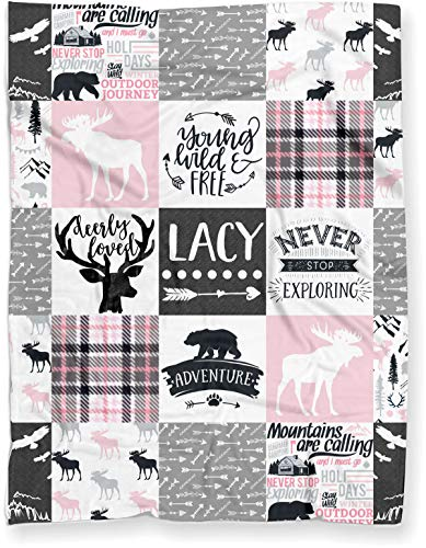 Puddle Kickers Personalized Moose Minky Baby Blanket Woodland Boho for Girl Soft Polyester Fleece  30quot x 40quot  Light Pink and Gray