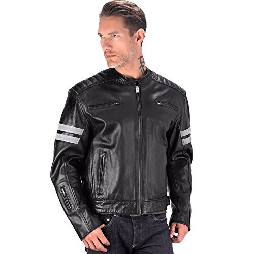 Viking Cycle Bloodaxe Premium Grade Cowhide Leather Motorcycle Jacket for Men (3XL)