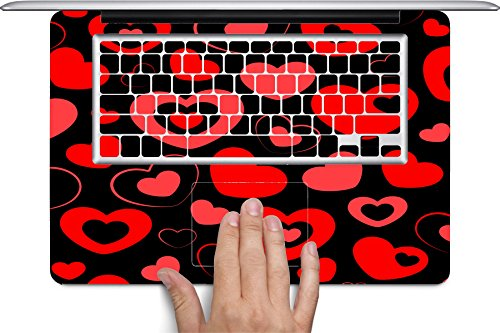 Heart and Hearts Love Pattern Black Background Macbook Full Keyboard Vinyl Decal Skin (Fits 13 inch) by Moonlight Printing