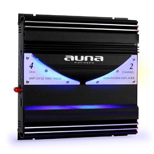 Auna 2/1-Kanal Auto Car HiFi Verstärker Endstufe (20Hz-20kHz, Cinch-Line-In, 2x Speaker-Out, LED-Effekt)