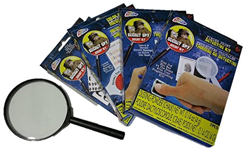 Secret Agent Spy Kit - Magnifying Glass, Invisible Pen Decoder, Color Code Secret Messages, Criminal Profiling & Finger Print Detective Kit (Secret Agent Spy Kit)