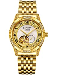 BINLUN 18K Gold Mens Wrist Watch Tourbillon Mechanical Automatic Watches