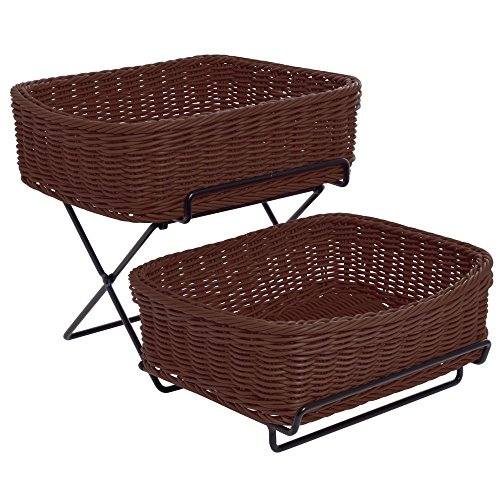 Two Wicker Basket Stand - Merchandising Rack 2-Tier Black, 2 Brown Synthetic Wicker Baskets - 13