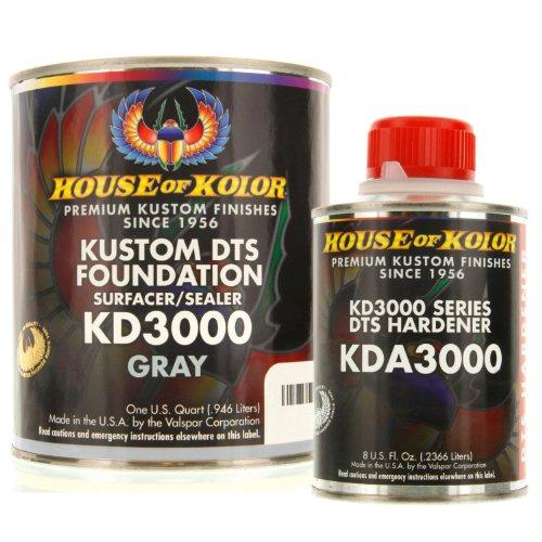 House of Kolor QUART KIT GRAY Color KD3000 DTS Surfacer / Sealer w/ Hardener (Kolor House Primer Of)