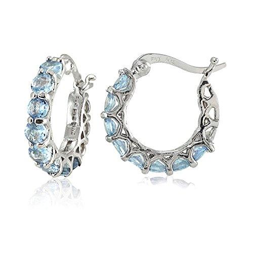 Sterling Silver Blue Topaz Small Round Huggie Hoop - Topaz Earrings Silver Blue Hoop