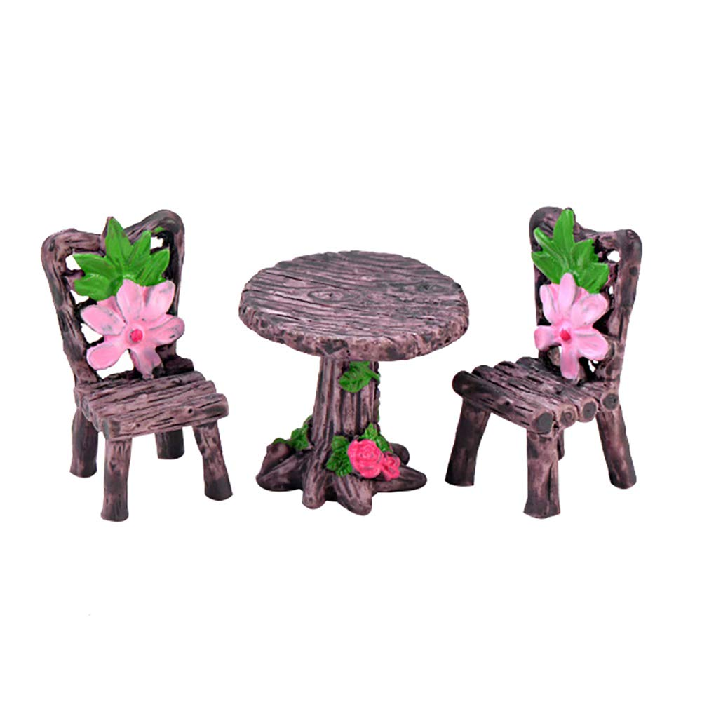 Amazon.com: Floralby 3Pcs/Set Miniature Fairy Garden Table ...