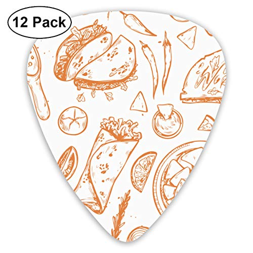 Unique Designs Guitar Picks - Colorful Mexican Food Hot Chili Pepper, Avocado, Nachos And Taco Guitar Picks -Premium Music Gifts & Guitar Accessories For Boyfriend Musician-12 Pack ()