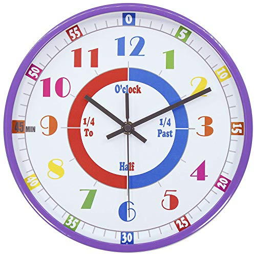 (45Min Teaching Clock, Silent Movement, Educational Clock, Makes Kids Learning Time Faster and Fun. Child Clock Perfect for Parents and Teachers, Decorate Kids Bedroom or Classroom, Four Colors(Purple))
