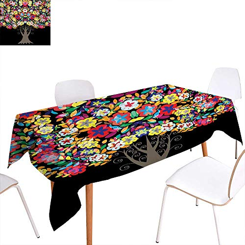familytaste Floral Dinner Picnic Table ClothTree with Flower Blossom Branches Vivid Nature Summer Season Artistic Graphic Print Waterproof Table Cover for Kitchen 60