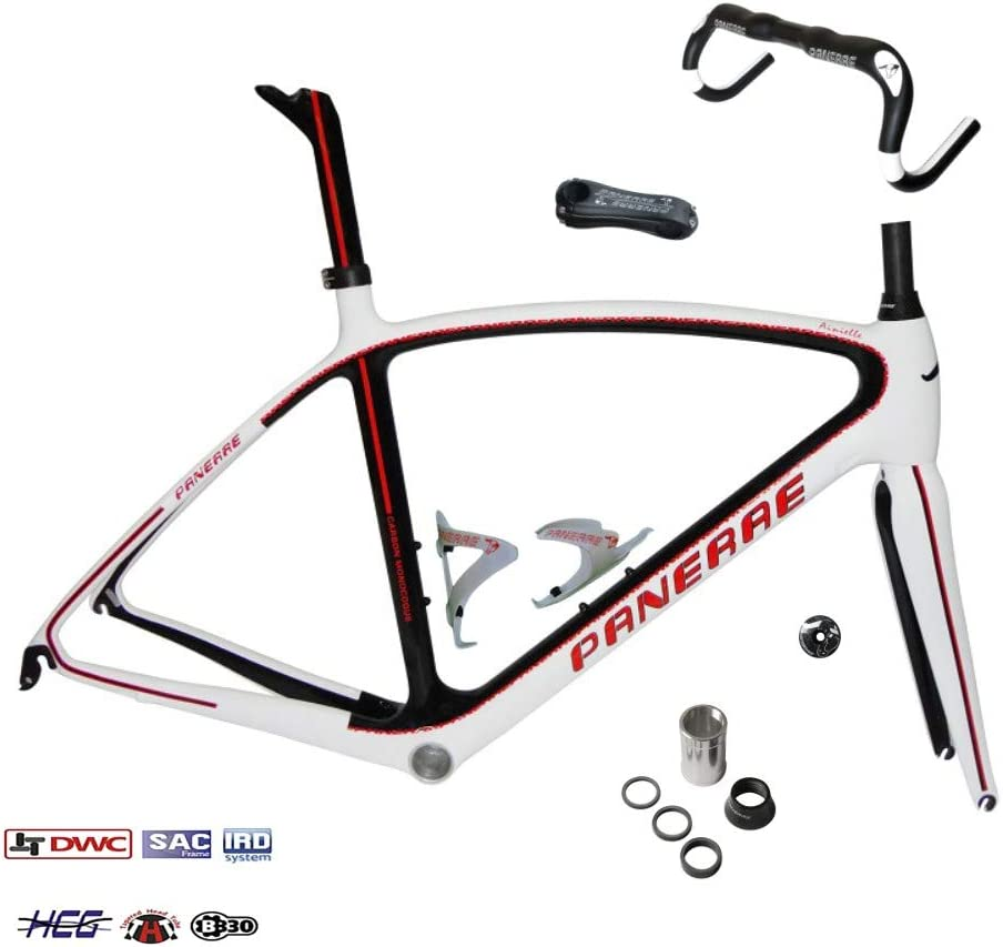 PANERAE Kit Completo Cuadro de Bicicleta Fibra de Carbono Ainielle Rojo Talla 55 Peso Total 1700grs