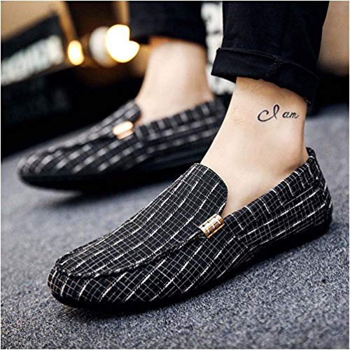 Simpson Jessica Nordstrom - ECOLAQ& Men Loafers Men Shoes Casual Shoes 2019 Spring Summer Light Canvas Youth Shoes Men Breathable Flat Footwear Black 6.5