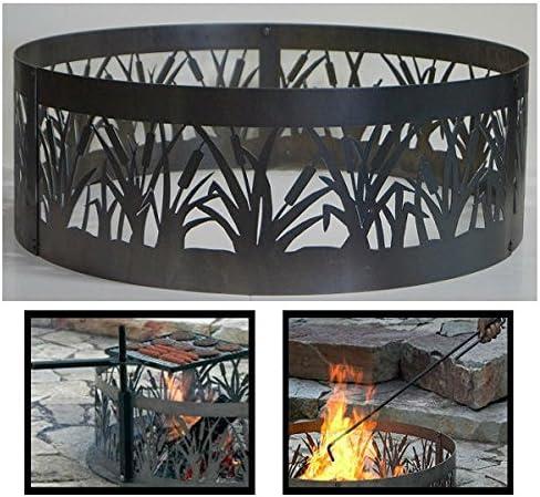 Medium 38 d x 12 h Plus Free eGuide PD Metals Steel Campfire Fire Ring American Flag Design Unpainted