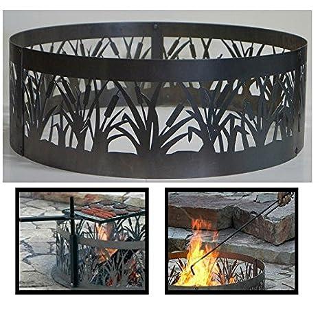 PD metales acero hoguera anillo de Fuego Cattails diseño ...