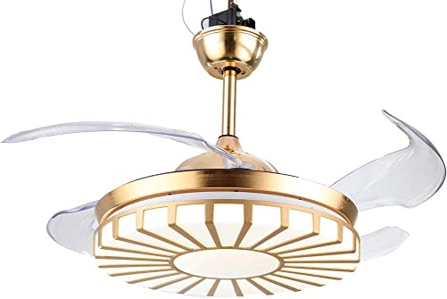 42 Inch Modern Invisible Ceiling Fans LED Chandelier