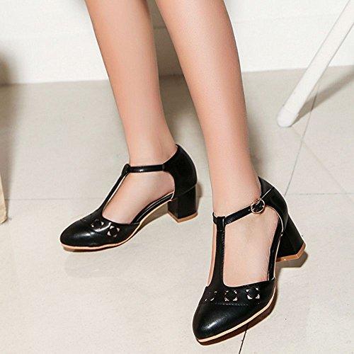 COOLCEPT Zapato Mujer Moda Comodo Hollow Correa En T Medio Chunky Tacon Sandalias for Vestir Trabajo Oficina Negro