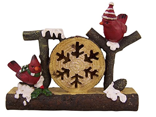 Christmas Joy Holiday Standing Decoration with Red Birds, 7 1/4 Inch Outdoor Christmas Decorations Joy Sign