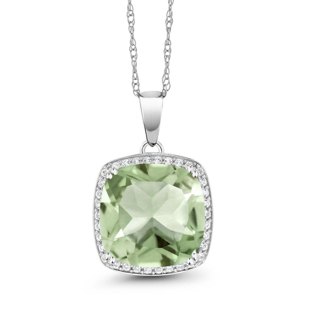 6.74 Ct Cushion Green Amethyst White Diamond 10K White Gold Pendant