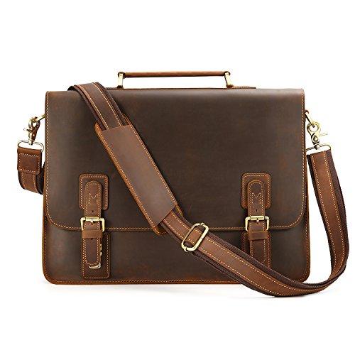 Kattee Vintage Genuine Leather Briefcase Messenger Bag, Fit 16'' Laptop by Kattee
