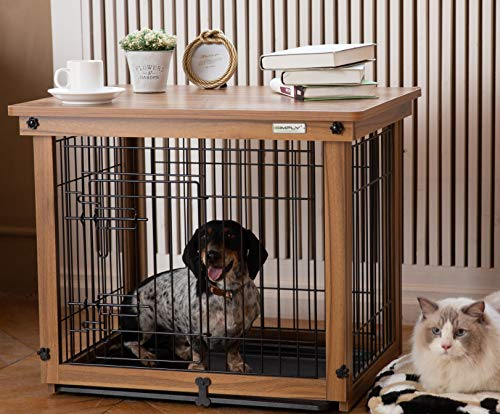 Simply Plus Wood & Wire Dog Crate with Slide Tray and Detachable Top Cover Indoor Pet Crate Side Table Size S