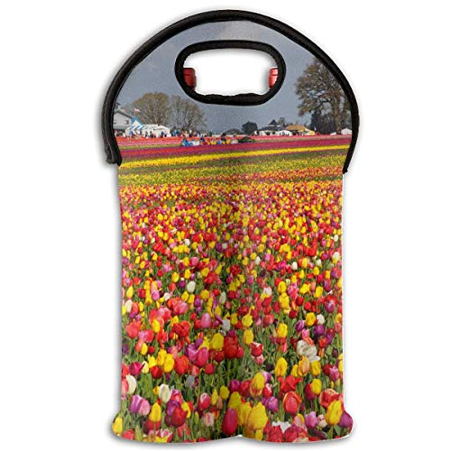 Wooden Shoe Tulip Festival 2 Bottle Wine Tote Carrier Bag Portable Insulated Polyester Beer Hand Bag for Travel,Picnic,Party