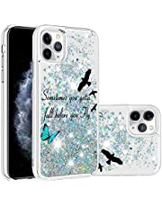 Miagon Liquid Case for iPhone 12 Pro Max,Glitter Shockproof Quicksand Cover Floating Bling Sparkle Shiny Clear Bumper,Bird