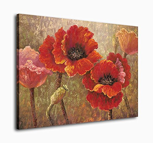 Canvas Wall Art Red Flower Painting Framed Wall Art Decor -