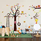 1 Pack Large Tree Monkey Owl Zoo Cartoon Animal Wall Stickers Mural Art Decal Living Room Bedroom Girls Nursery Paradisiac Popular Dream Butterfly World Moon Star Ocean Sun Flower Vinyl Window Decor