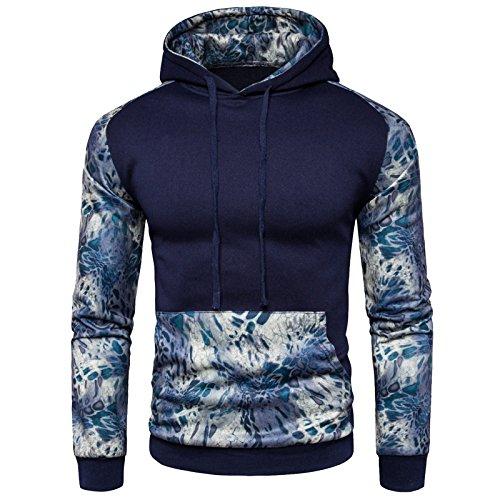 Wslcn Sport Homme Capuche Imprimé À Pull Hoodie Sweatshirt Outerwear Manteau Pullover Veste Bleu rqrwz1fdt