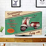Leighhome Television Protector Scooter Motorbike Travel City Sight Hipster Enjoy Ride Television Protector W19 x H30 INCH/TV 32''
