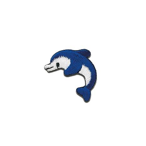 Delfin Fisch Tier 3x2cm blau Aufnäher // Bügelbild Patches Aufbügeln