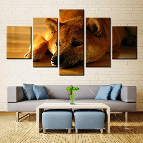 5パネル現代ホーム壁アートHD画像キャンバスPrintingsリビングルーム装飾テーマdog707 8X14 8X18 8X22 LH-5-S2707 B0772JDCJ3 No Framed 8X14 8X18 8X22