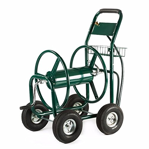 Generic NV_1008001888_YC-US2 asket Re Cart 300 FT Outdoor 300 Green Water tdoor Garden Heavy en He Hose Reel uty Y Duty Yard w/ Basket Green W