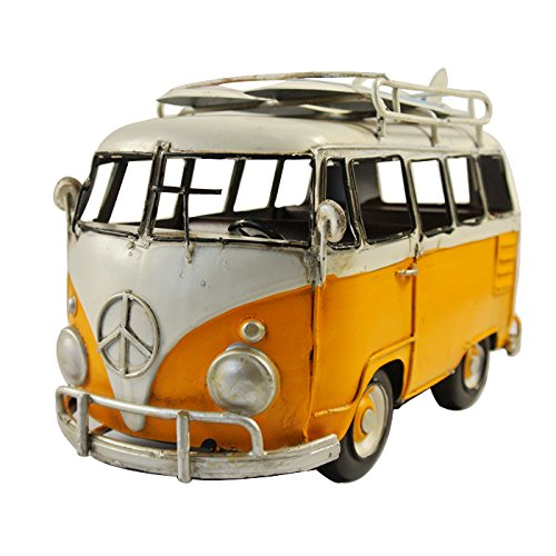 NAVA Vintage Yellow White VW Van Bus Surf Board Props Metal Model Photographing (Bus Prop)