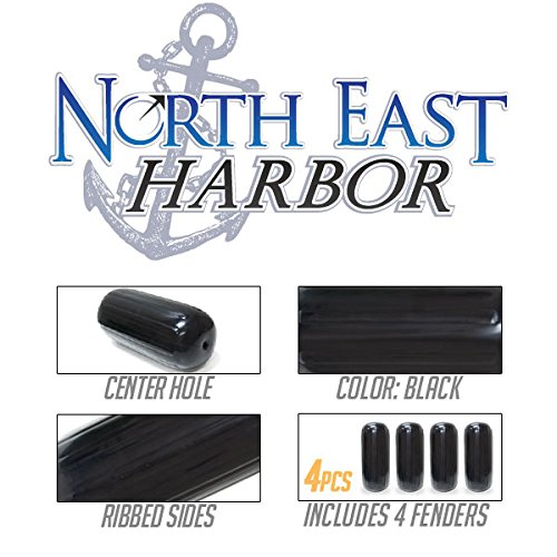 Center Hole Ribbed Boat Pontoon Fender 8'' x 20'' 4pcs Inflatable Vinyl Mooring Bumpers Guard Dock Docking - Black