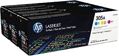 HP 305A (CF370AM) Cyan, Magenta & Yellow Original LaserJet Toner Cartridges, 3 pack