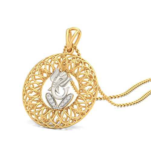 14 K Or jaune 0.05 CT TW Round-cut-diamond (IJ | SI) Pendentif