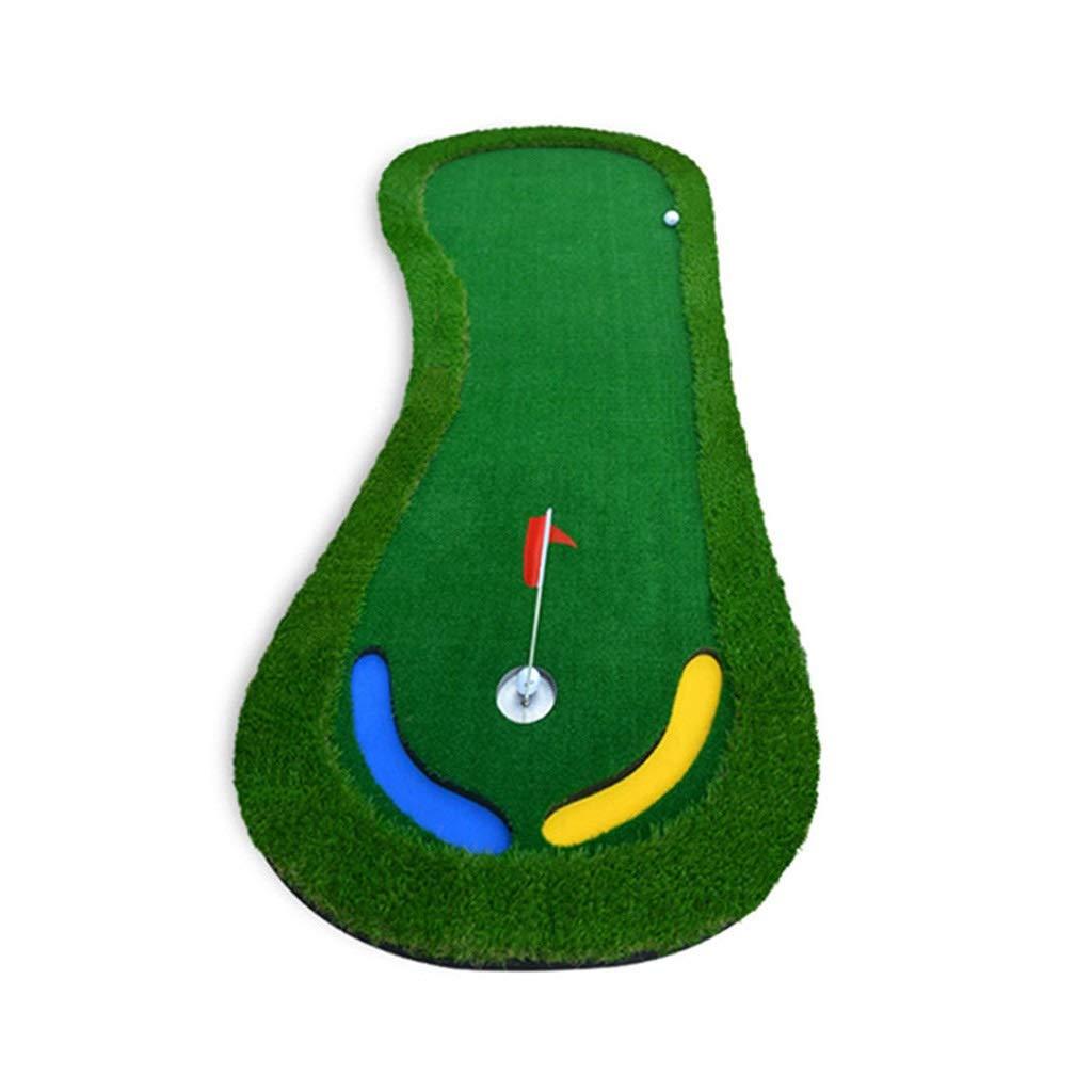 ゴルフ練習マットゴルフパッティンググリーンゴルフパター屋内ゴルフグリーンミニパター練習シミュレーションどこでも、どこでもスロープでスタジアム形状(色:グリーン、サイズ:90 * 300 * 3cm) B07PJB6VZJ
