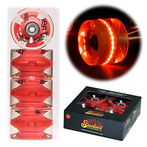 Sunset Longboard (Sunset Skateboards Red 65mm Longboard LED Light-Up Wheels Set with ABEC-7 Carbon Steel Bearings (4-Pack))