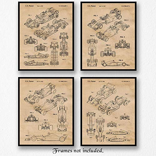 Original Ferrari F1 Indy Racing Patent Poster Prints, Set of 4 (8x10) Unframed Photos, Wall Art Decor Gifts Under 20 for Home, Office, Studio, Garage, Man Cave, Shop, College Student, Formula 1 Fan (Racing Print)