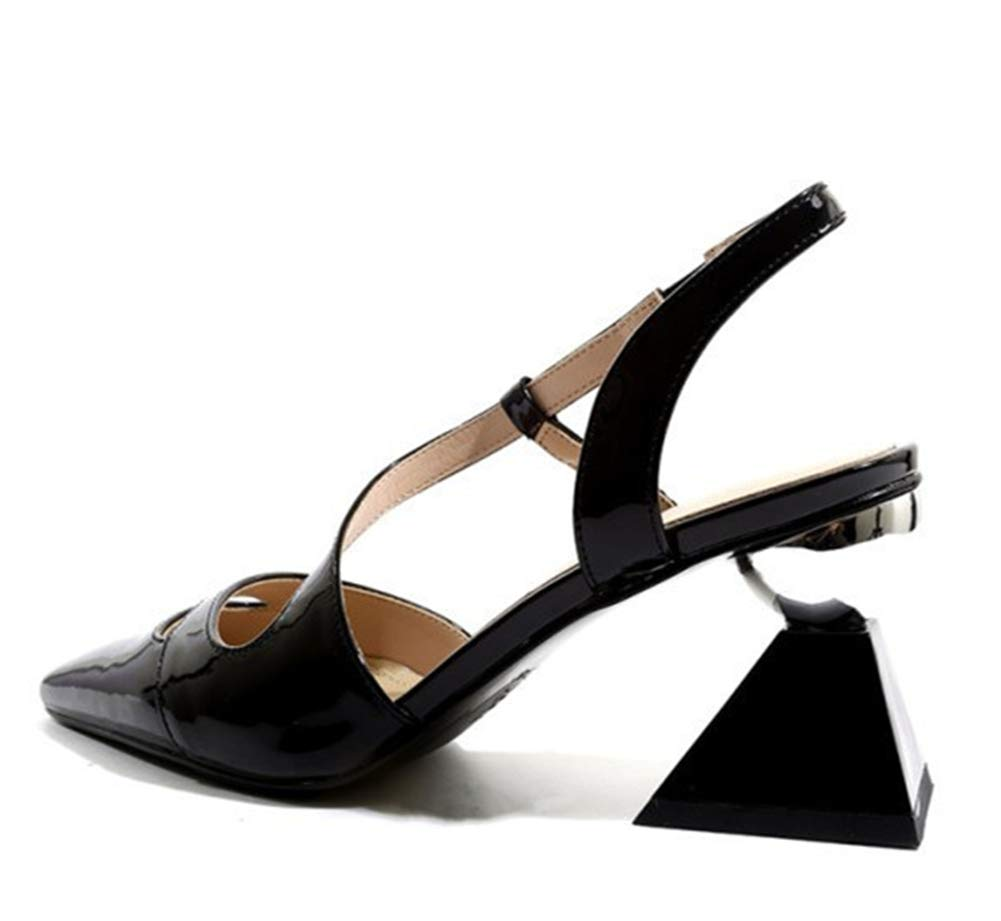 Black Women's Ladies Pumps Heeled Slingback Sandals Mary Jane shoes Block Heels Closed Pointed Toe Ankle Buckle Court shoes Dress Party Black Yellow