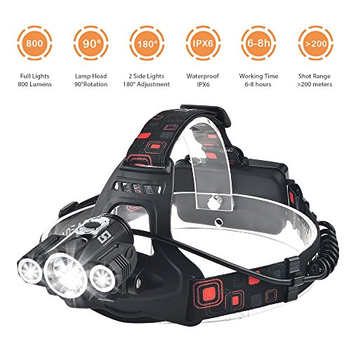 Bright Headlight Headlamp Flashlight Torch 3 Bulbs Cree T6 XPE LED 4 Modes 800 Lumen Waterproof Head Lamp Bike Light With Rechargeable Batteries, USB Cable and Wall Charger For Biking, Camping, Hiking (Heads Angle Plug)
