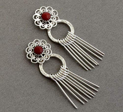 2 in 1 lab red coral ear jackets sterling silver filigree stud earrings front back double two sided jewelry