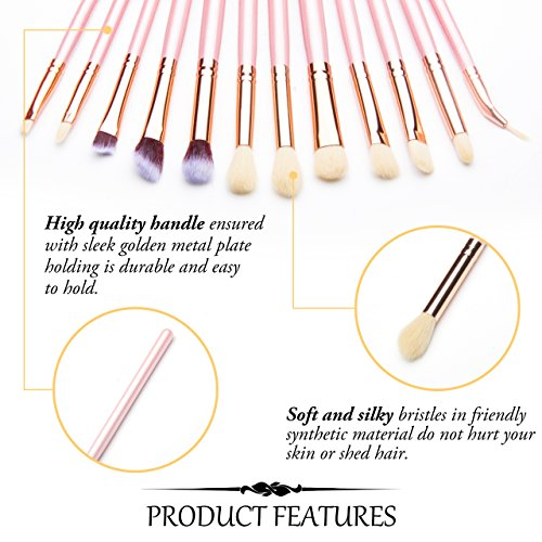 Qivange Eye Makeup Brushes, Eyeshadow Concealer Eyeliner Makeup Brush Set with Portable Pouch (12pcs, Pink with Rose Gold)